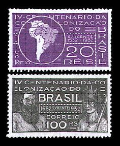 Brasil 1931 Map of South America Showing Engr. Meridian of Tordesillas — A100  Joao Ramalho and Tibirica — A101