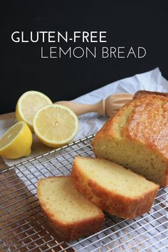 Gluten-free baking can be a challenge, but completely doable. Try this simple Gluten-Free Lemon Bread, and put the fun back into baking. Use non-dairy milk for a dairy free version. Patisserie Sans Gluten, Dessert Sans Gluten, Gluten Free Sweets, Gluten Free Cakes, Gluten Free Cooking, Vegan Gluten Free, Gluten Free Lemon Cake, Gluten Free Banana Bread, Gluten Free Menu