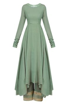 Green resham embroidered asymmetric kurta set with green sequinned pants available only at Pernia's Pop Up Shop.