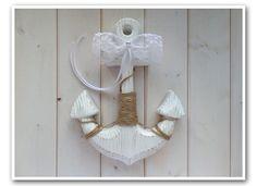 Anker Ringkissen Alternative, Anker aus Holz im weißen Shabby Chic Look, mir Deko-Schleife und Deko-Perle - für z.B. maritime Vintage Hochzeiten - von Loveli-Hochzeitsplanung / Onlineshop - www.love-li.de
