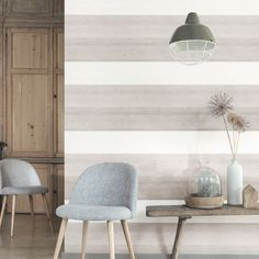 Decorate the walls with wallpaper Zuber Wallpaper, Diy Wall, Wall Decor, Striped Walls, Nature Decor, Decoration, Scandinavian Design, My Room, Family Room