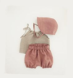 Baby Linen Outfit Beach Picture Outfit Summer by moonroomkids