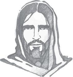 Jesus Christ Face vector art illustration