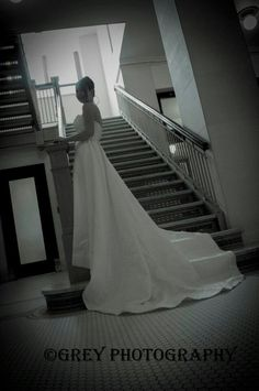 wedding, bride, bridal, stairs, white. By Grey Photography