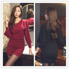 TE2153ALFS Fashion sexy puff sleeve tight hip dress