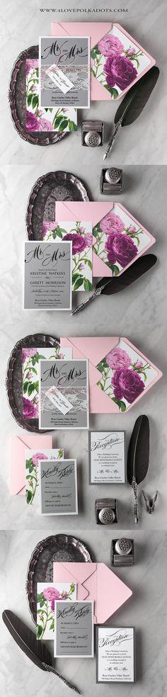 Peonie Wedding Invitations Pink & Grey #weddingideas #flowers #weddinginvitations