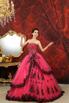 Hot Pink Strapless Beaded Lace Up Back Ball Gown Prom Dress H-117. $169.00, via Etsy.