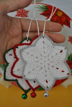 Best 11 The price is for THREE SNOWFLAKE. This wonderful handmade crochet lace snowflakes measures approximately cm or inch. Lovely crochet snowflakes in white-red,white-green,white-grey colors.The snowflake is crocheted using cotton and microfiber Crochet Christmas Decorations, Christmas Crochet Patterns, Crochet Christmas Ornaments, Holiday Crochet, Crochet Snowflakes, Christmas Knitting, Tree Decorations, Crochet Tree, Crochet Motifs