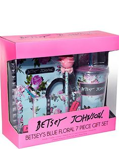 Super cute Betsey Johnson 7 piece gift set complete with stationary: journal, note pad, note card & envelopes, pen tumbler w/ straw, iphone hard case, iphone bling sticker.