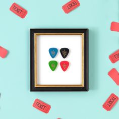 Guitar picks float mounted in our Providence frame
