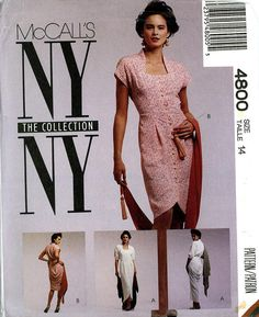 McCall's 4800 NY Collection Dress Tulip Hemline Draped Back Scarf Shawl Size 14 Bust 36 Uncut Vintage Sewing Pattern 1990