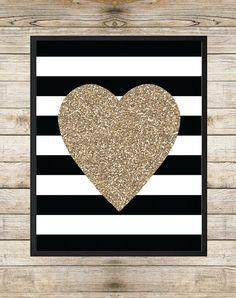 Printable Art, Gold Glitter Heart Art, Heart Silhouette, Black and White Stripes, Gold Glitter Art, INSTANT DOWNLOAD Printable Wall Art