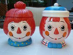 Wonderful 1972 Raggedy Ann and Andy Cookie Jars...