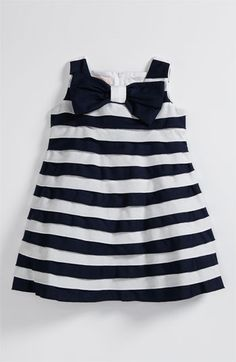 Great for 4th of July outfit. Add red bow and red shoes.