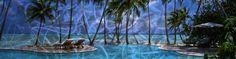 Lastra in alluminio molato con stampa paesaggio tropicale. 220x60cm.  Interior Design