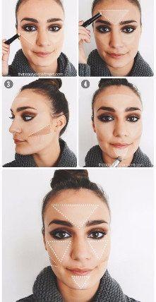 Haz de los triángulos tus mejores guías para contornear tu rostro. | 14 Trucos de belleza que cambiarán tu rutina de maquillaje para siempre