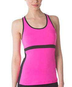 Look at this #zulilyfind! Pink & Black In the Moment Tank #zulilyfinds