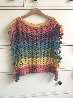Adult Size US Melu Crochet Summer Bobble Pom Pom Poncho gökkuşağı renkli bluz dantel # top down crochet hat Adult Size MEDIUM Melu Crochet Summer Bobble Pom Pom Poncho Pattern including chart Ladies/womens/woman/adult/women easy to read UK & US Gilet Crochet, Knitted Poncho, Crochet Cardigan, Crochet Shawl, Knit Crochet, Poncho Sweater, Crochet Braids, Crochet Bikini, Modern Crochet Patterns