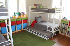 how to fit a toddler bed and bunk bed in one room | Room For More – How to Fit 6 Kids in One Room.