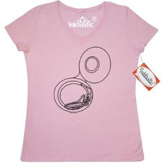 Inktastic Sousaphone Only Women's V-Neck T-Shirt Tuba Low Brass Music Instrument Barthol Band Marching Musical Musician Rough Drawing Funny Clothing Apparel Tees Adult, Size: XL, Pink