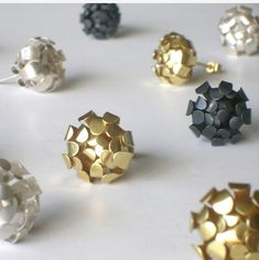 Cluster Studs. Gold Plated | Contemporary Earrings by contemporary jewellery designer Anna Wales