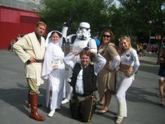 The full Star Wars Weekends 2013 cosplay group (plus Stormtrooper). Princess Leia, Obi-Wan, Han Solo, Princess Leia (Ewok village), and Padme.