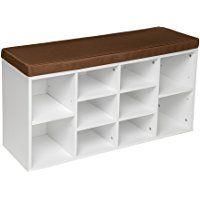 TecTake Estantería zapatero de madera con banco sólida taburete estantes calzado 103,5x48x30cm blanco