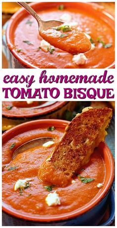 Homemade Tomato Bisque What to make on a busy weeknight? Tomato Bisque Soup is easy & soo flavorful! Yummy too with just a hint of spice. Chili Recipes, Soup Recipes, Salad Recipes, Cooking Recipes, Healthy Recipes, Delicious Recipes, Easy Recipes, Vegetarian Recipes, Recipies