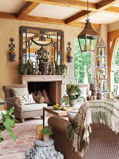 Textured furnishings and antiquities-inspired accents add up to an outdoor space with a past. Get the look with products sourced here!   Photo: Michael Partenio   thisoldhouse.com