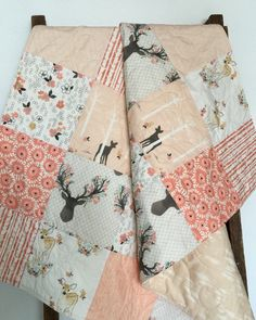 Baby Girl Quilt Fawn Bow and Arrow Birch Trees Deer by CoolSpool