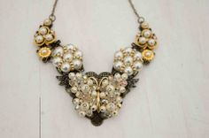 Faux Pearl Rhinestone and Gold Antique Brass Lace Butterfly Bib Necklace; Repurposed Vintage Faux Pearl Rhinestone and Butterfly Necklace on Etsy, $30.00