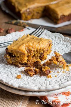Pumpkin Caramel Pecan cake with Pumpkin Buttercream Frosting   www.themessybakerblog.com
