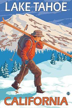 Skier Carrying Snow Skis - Lake Tahoe, California (24x36 ...