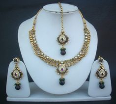 Necklace Earrings Tikka Indian American Fashion Jewelry Pearl Gold Plated Set  #Indian
