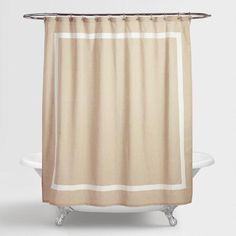 With relaxed, linen-blend fabric finished with an appliquéd border in fresh white, our Amalie Linen Shower Curtain offers classic simplicity and elegance.
