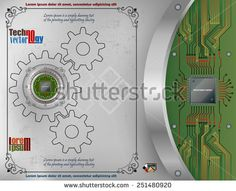 Processor Chip on metallic device nailed on scratched metallic background with screws; Chip connected to circuit board. Technology Background, Circuit Board, Royalty Free Images, Vectors, Frames, Metallic, Illustrations, Stock Photos, Abstract