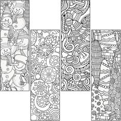 Coloring Book and Crayon Holder New Color Craze Winter Bookmarks Demco - Free Coloring Pages and Printable Adult Coloring Pages, Colouring Pages, Free Coloring, Coloring Sheets, Coloring Books, Free Printable Bookmarks, Diy Bookmarks, Christmas Colors, Christmas Crafts