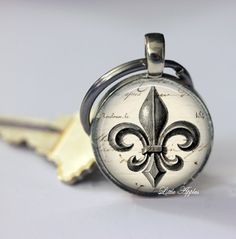 vintage fleur de lis french lily flower glass necklace or keychain | LittleApples - Jewelry on ArtFire