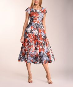 This Red & Blue Floral Fit & Flare Dress - Women & Plus is perfect! #zulilyfinds