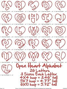 Open heart alphabet lettering (originally found on Etsy)–just in time for Valentine's day!Open Heart Applique Alphabet 26 Letters 3 by allthingsappliqueDiscover thousands of images about creative hand lettering alphabets Part time Paint Nite arti Alphabet A, Hand Lettering Alphabet, Doodle Lettering, Lettering Styles, Calligraphy Letters, Doodle Alphabet, Tattoo Fonts Alphabet, Alphabet Crafts, Doodle Art