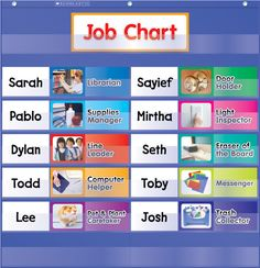 Colourful photo cards make keeping track of class job assignments exciting! Find this chart in the Classroom Essentials Catalogue: OPUS 2027391 Page 36 See the pages here: http://www.scholastic.ca/clubs/cec/