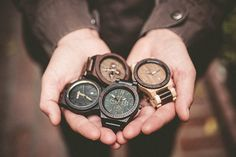 """""""All the wooden colors of the WeWOOD rainbow!we-wood.us photo: Skyler Greene Photography Big Watches, Best Watches For Men, Weekender, Gift Guide For Men, Wooden Watches For Men, Presents For Men, Green Gifts, Gifts For Father, Wood Watch"""
