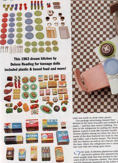 Original accessories from the Deluxe Dream Kitchen by Reading/Topper Toys (1963) shown in Barbie Bazaar Magazine, May 1993 Vintage Barbie Clothes, Vintage Toys, Doll Clothes, Barbie Food, Barbie Dolls, Barbie Kitchen, Toy Catalogs, Modern Dollhouse, Doll Furniture