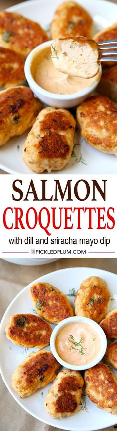 Healthy Salmon Croquettes Recipe With Tangy Dill And Sriracha Dipping Sauce. Light, Tasty And Only 20 Minutes To Make Easy, Healthy, Seafood, Recipe Salmon Recipes, Fish Recipes, Seafood Recipes, Appetizer Recipes, Dinner Recipes, Cooking Recipes, Healthy Recipes, Avacado Appetizers, Prociutto Appetizers