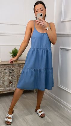 Blue smock dress, smock dress, blue dress, blue summer dress, summer smock dress