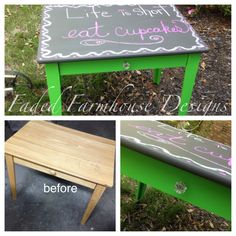 A child's table/desk painted in Caterpillar mixed with Websters Chalk Paint Powder. Perfect for a child's playroom and ....watch their creativity grow. Faded Farmhouse Designs by Michelle.