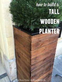 Gorgeous tall wooden planter with metal screw head accentsHow to Build a Tall Wooden Planter with metal screw accents- DIY. For th front porch!How to build this tall wooden planter -- it's 3 feet tall! Could easily be made taller.Beautify your front porch Tall Wooden Planters, Cedar Planters, Concrete Planters, Garden Planters, Diy Planters Outdoor, Balcony Garden, Succulent Planters, Planters For Front Porch, Succulents Garden
