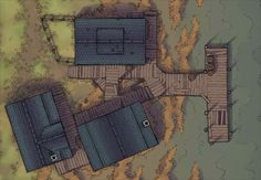 The River Jetty, a battle map for D&D / Dungeons & Dragons, Pathfinder, Warhammer and other table top RPGs. Tags: boat, bridge, marsh, river, ship, shore, spooky, town, water