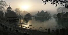 Misty Dawn Stilt Village by Dylan Cole.