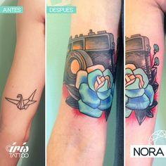 Cover Up #coveruptattoo #rose #cameratattoo #flower #armtattoo #tatuaje #rosa #camara #fotos #tattoos #iristattoo #palermo #buenosaires #argentina